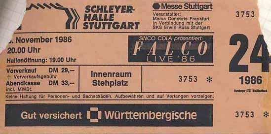 Falco – 06.11.1986 – Stuttgart – Schleyerhalle