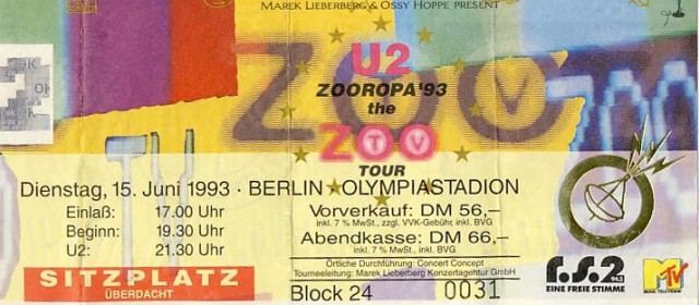 U2 – 15.06.1993 – Berlin – Olympia-Stadion