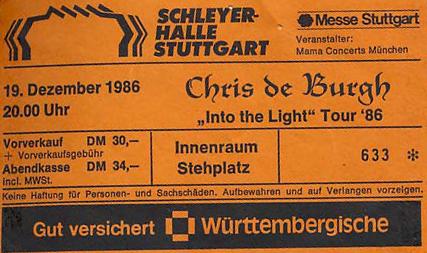 Chris de Burgh – 19.12.1986 – Stuttgart – Schleyerhalle