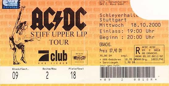 AC/DC – 18.10.2000 – Stuttgart – Schleyerhalle