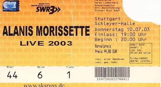 Alanis Morissette – 10.07.2003 – Stuttgart – Schleyerhalle