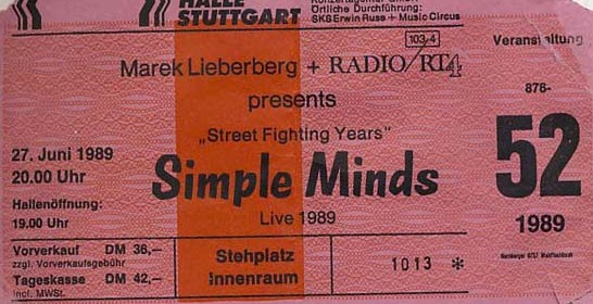 Simple Minds – 27.06.1989 – Stuttgart – Schleyerhalle