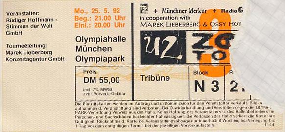 U2 // 25.05.1992 // München // Olympiahalle // Konzertbericht