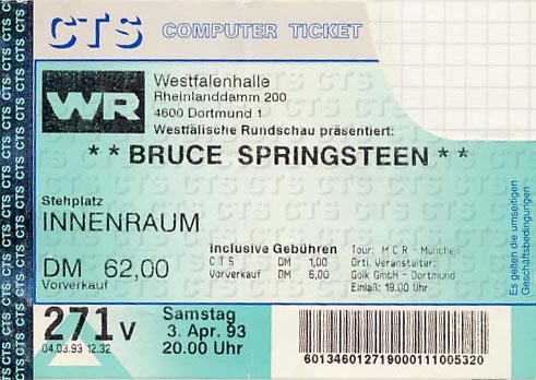Bruce Springsteen // 03.04.1993 // Dortmund // Westfallenhalle