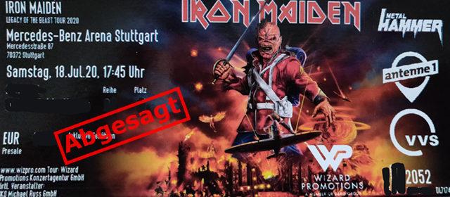 Iron Maiden Tour 2020 abgesagt. Auch das Konzert in Stuttgart ist betroffen. Planungen für 2021 sind im Gange.