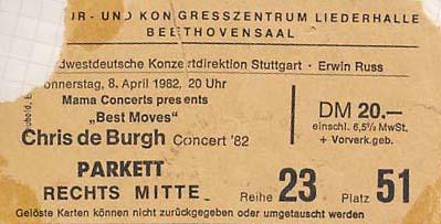Chris de Burgh – 08.04.1982 – Stuttgart – Liederhalle