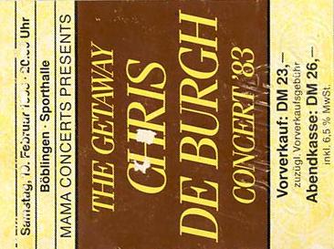 Chris de Burgh – 19.02.1983 – Böblingen – Sporthalle