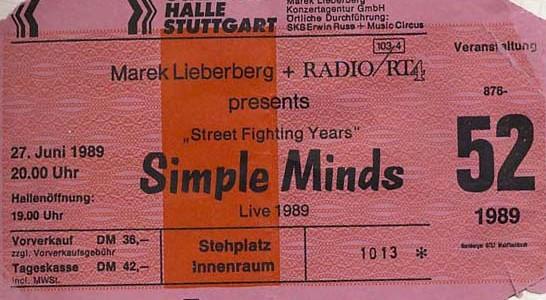 Simple Minds – 27.06.1989 – Stuttgart – Schleyerhalle