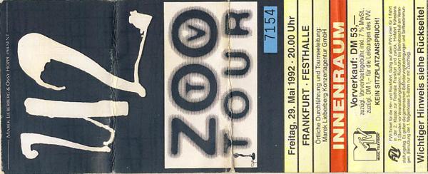 U2 // 29.05.1992 // Frankfurt // Festhalle // Konzertbericht
